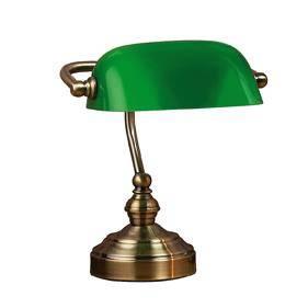 Bankers gammeldags bordlampe med grøn glas skærm