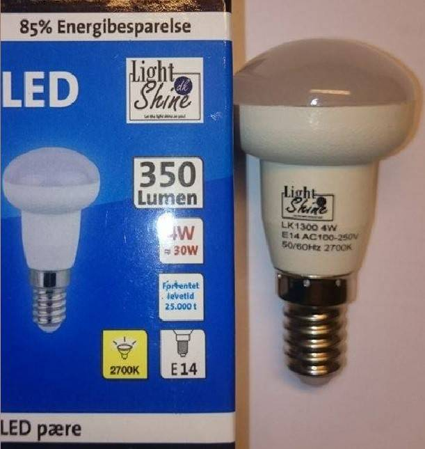 Reflektor lyskilde 4W LED E14 fatning