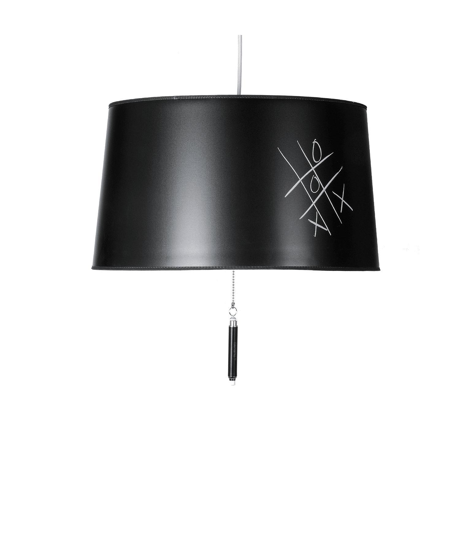 Lamperne er lavet af et skrivebart materiale. Så man kan skrive små søde beskeder på skærmen. Blackboard leveres med kridt i en kridtholder