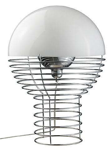 Verner Pantons fantastiske bordlampe. KUN kr. 3099!! Fremstillet som en cylindrisk trådbunden ramme