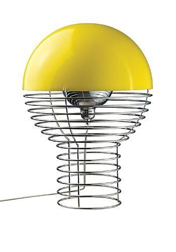Verner Pantons fantastiske bordlampe. KUN kr. 3999!! Fremstillet som en cylindrisk trådbunden ramme